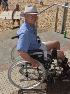 Getting used to a wheelchair. March 2015 about a month after surgery