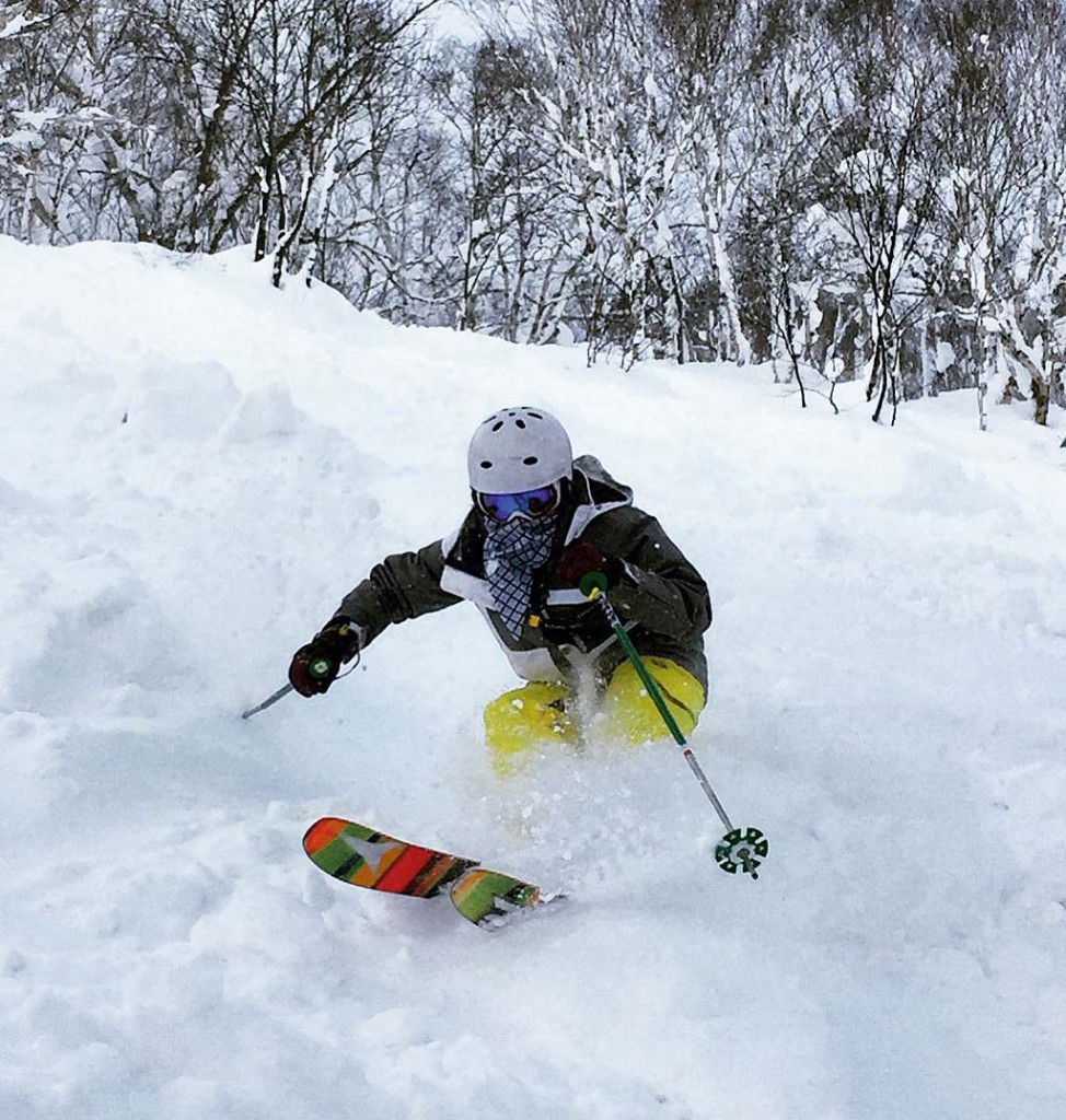 Powder madness. Catherine Kelly going hard on her restructured tibia, almost 3 years after surgery and a blood clot. Niseko Japan December 2014.