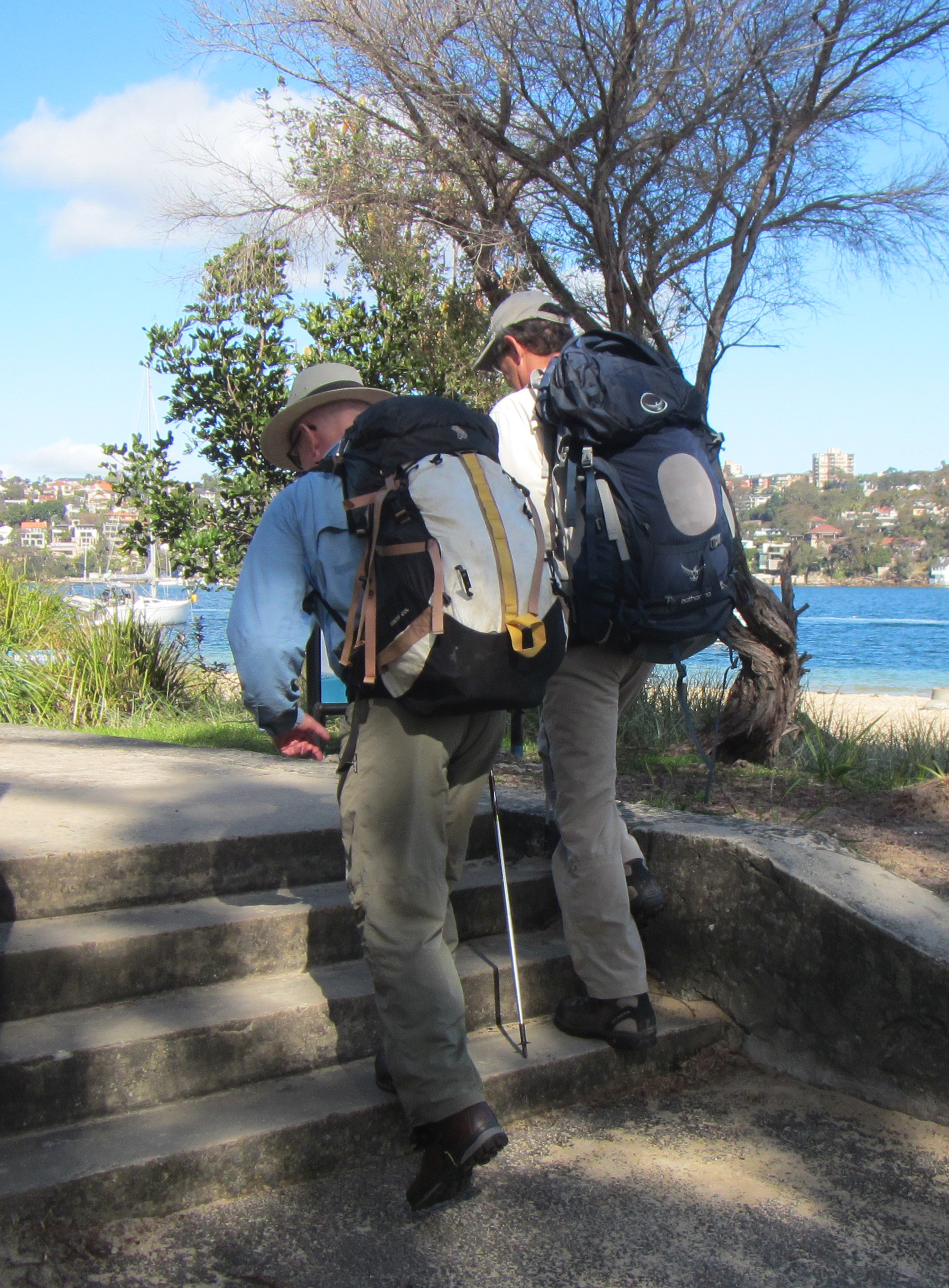 Leaving Clontarf on the way to Manly. Stepping up with my broken right leg. This required enormous concentration but was excellent exercise therapy. Barry is on my right. I am carrying the Mountain Hardware pack I will take to the NT.