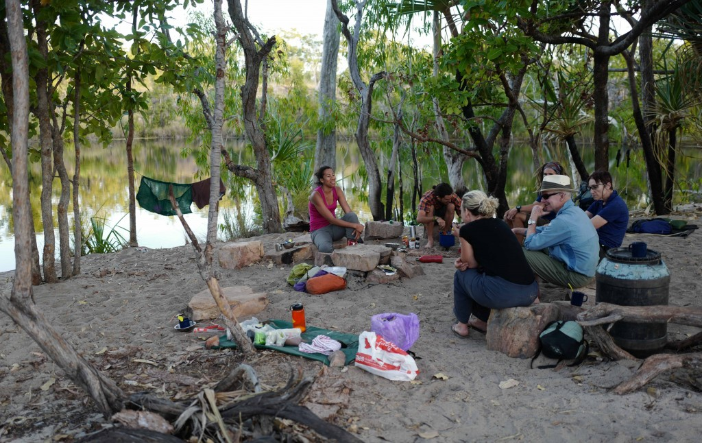 Sandy Camp. Late afternoon we enjoy a cup of tea and a yarn