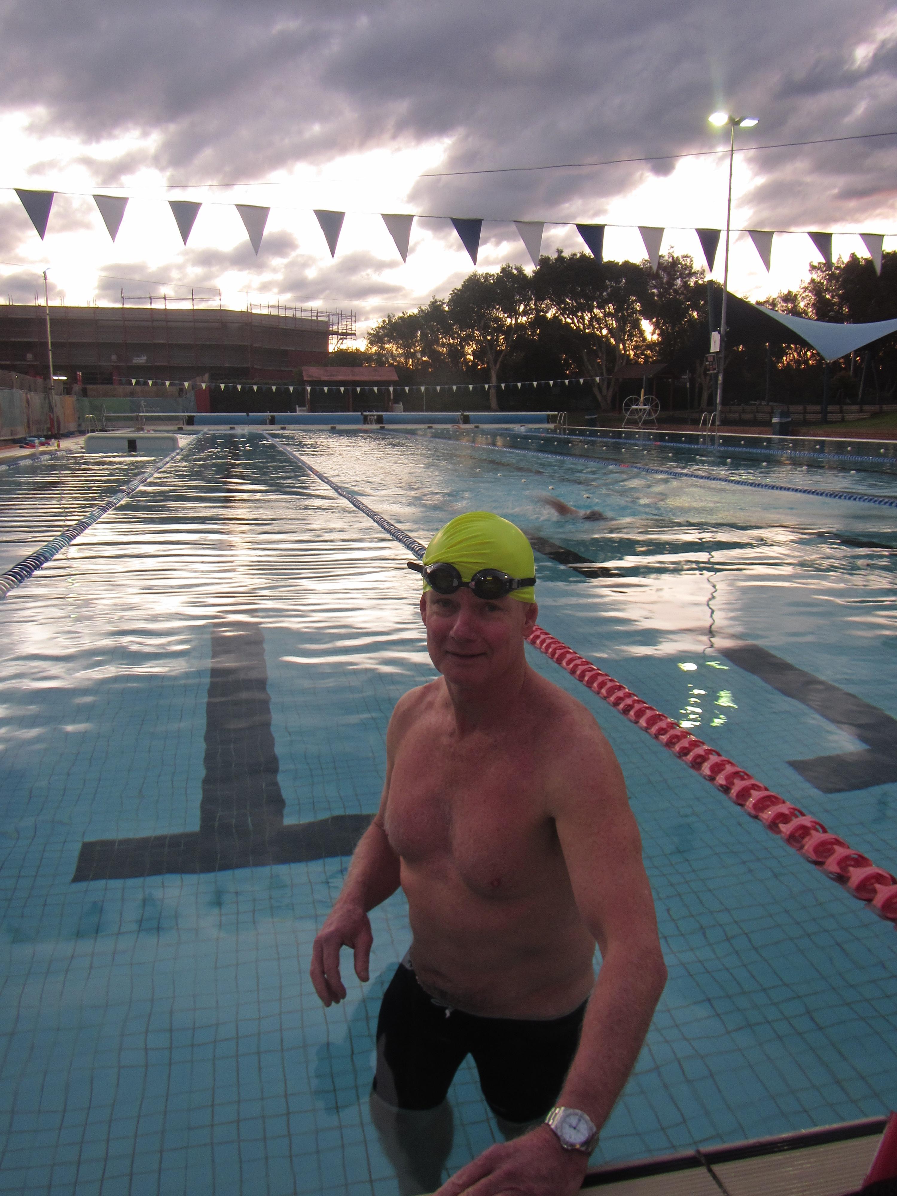 Dusk at Andrew Boy Charlton pool, Manly