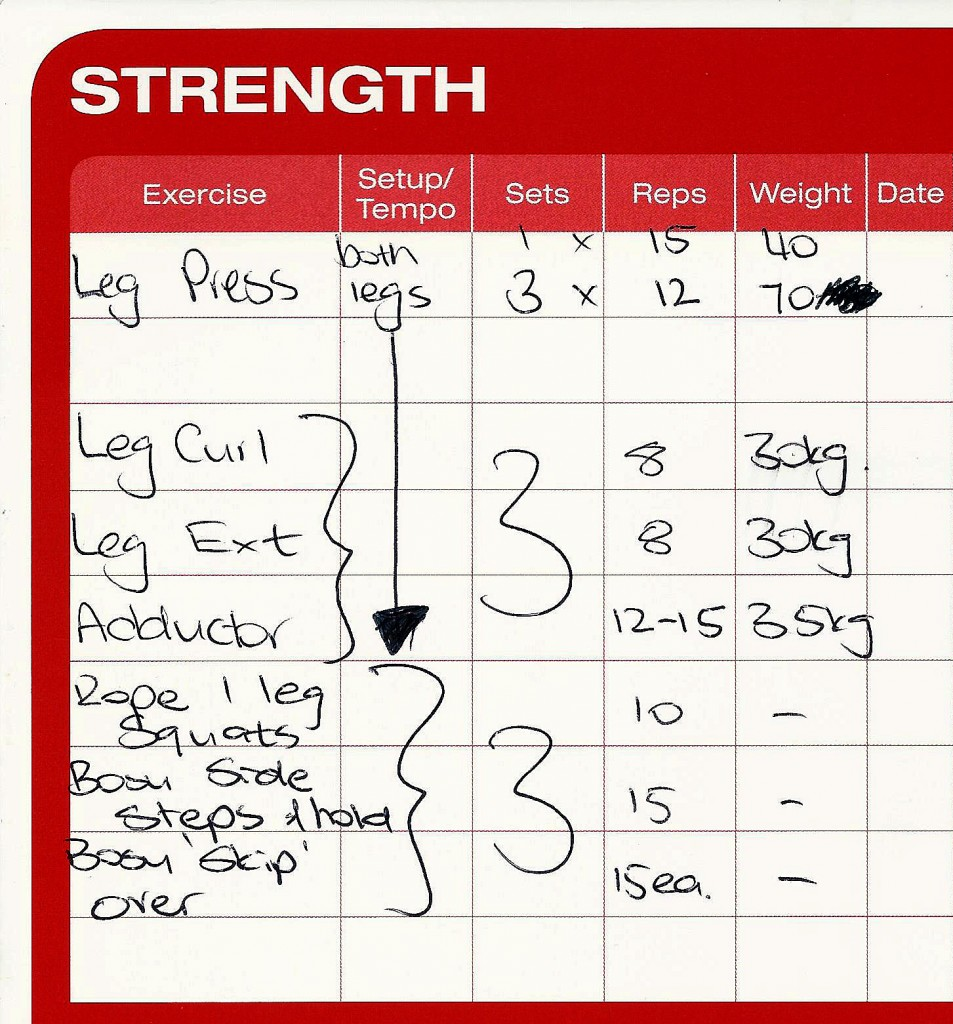 A typical exercise chart for 8 months post surgery. It doesn't show a half hour warm up on the bike. this exercise routine takes 1.5 hours.