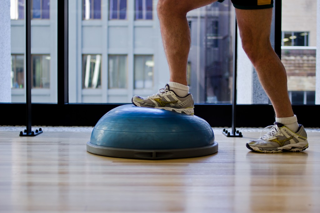 Stepping over and back on a Bosu ball using the broken leg as the weight bearing pivot. thisis by far the hardest and most painful exercise you will attempt in rehabilitation.