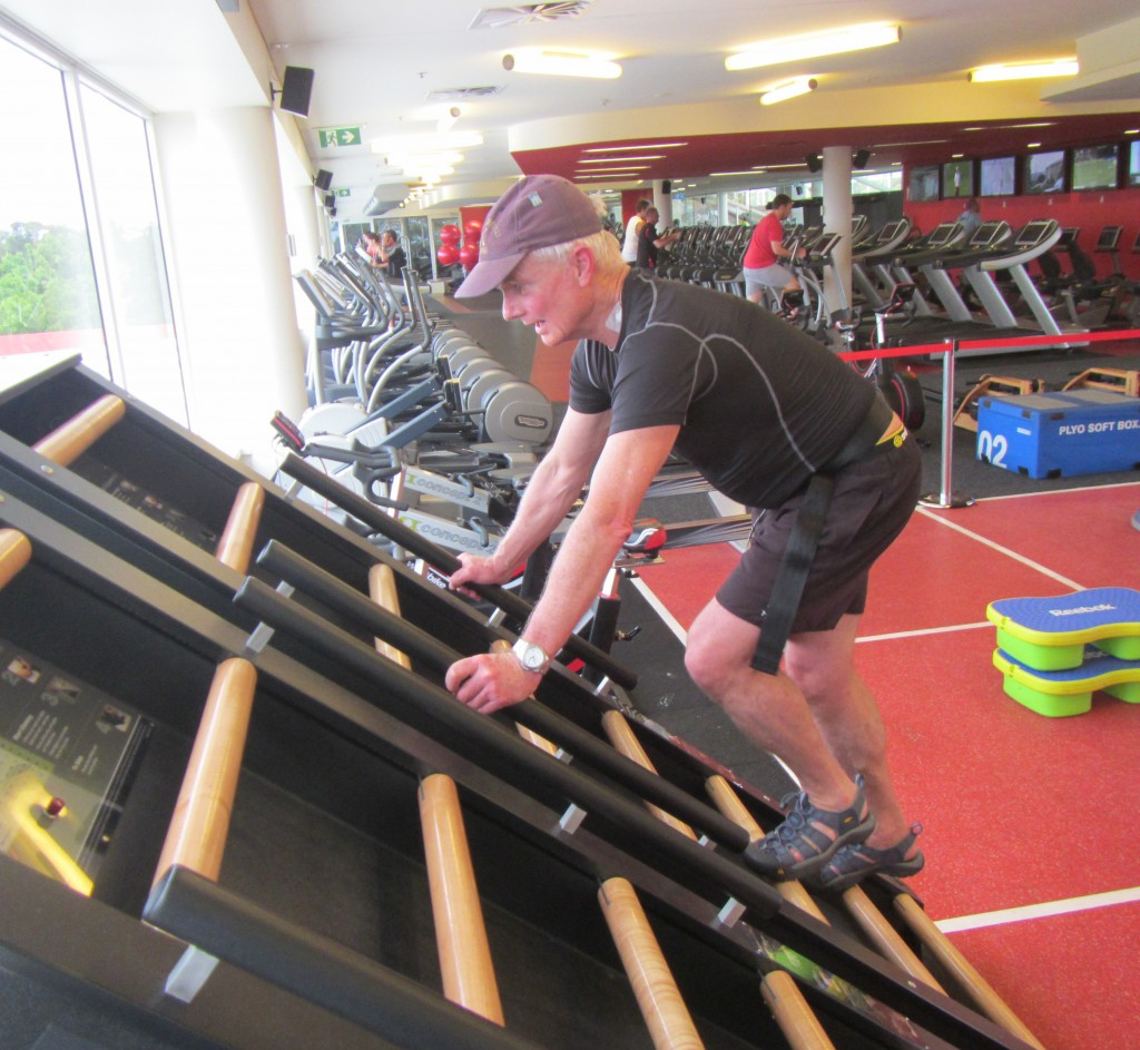The Jacobs Ladder, a safe  but taxing exercise machine for the legs once the initial phase of rehab is complete.