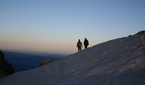 Dawn Mt Hood. Ben and me on the summit