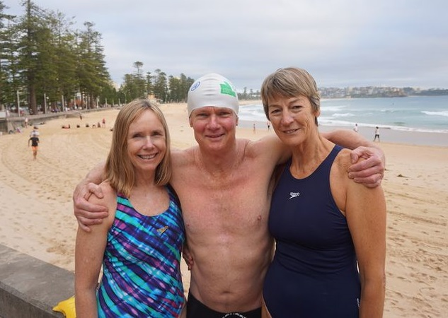 Two pretty girls, one lucky guy. Marg Carney and Denise Elder, Manly Beach before our 630am swim on my birthday.
