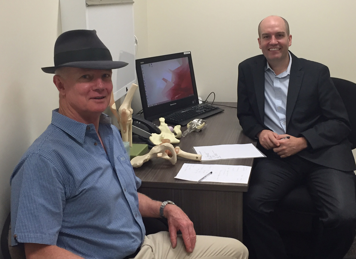 Going through my questions with Dr Matt Lyons in his rooms at the Mater clinic in Sydney. He was very patient, not only answering my letter in detail, but also my page of questions at our final meeting.