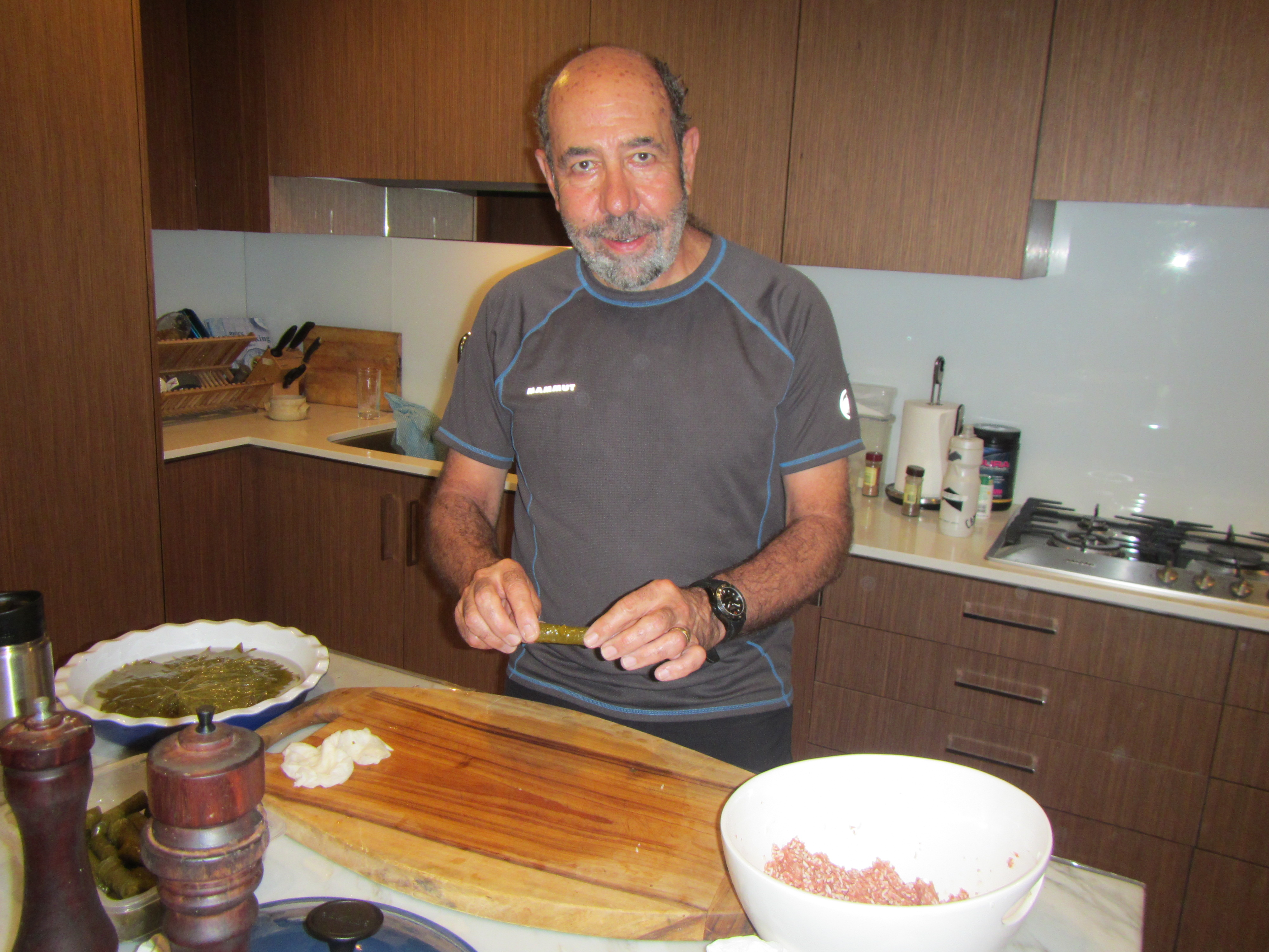 An expert in my kitchen. Rick Ayish from Columbus Ohio makes Dolamades in my kitchen on the last day of 2015