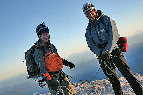 My climbing guide Ben and me on the summit of Mt Hood, Oregon, USA. At about the same time his mother was killed while climbing Mt Blanc in France.