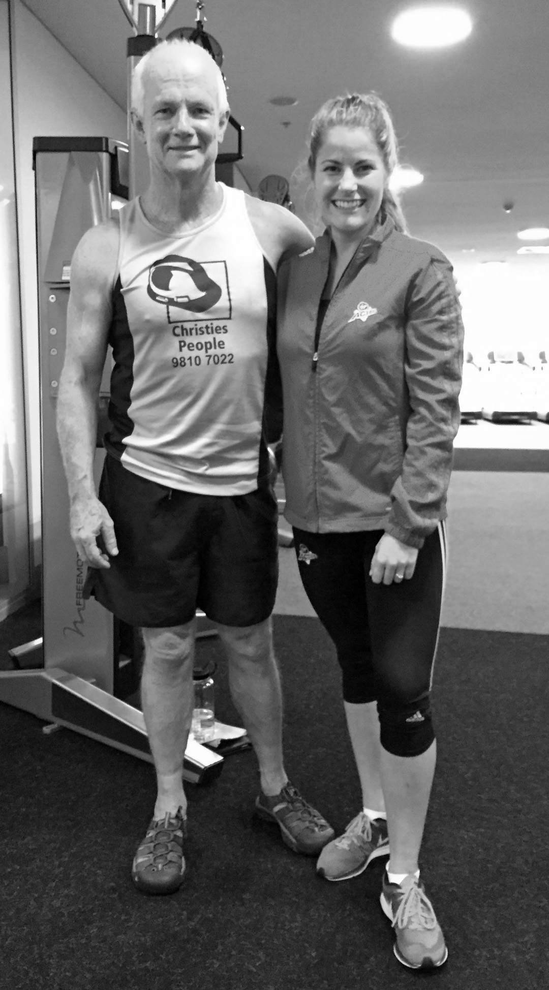 The relationship the relationship between the postsurgical patient and their advisors such as physiotherapists and personal trainers are crucial to successful recovery. They are also critical in avoiding injury during rehabilitation. I was magically fortunate in encountering Belinda vendor then at the virgin gym in Sydney. As of December 2015 she has been supervising my recovery for nine months. This photo was taken in the gym after our last session before Christmas in 2015