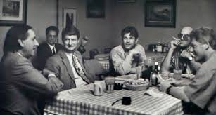 Bill Clinton (right) and Hunter S Thompson (second from right) at their famous lunch at  doe's Cafe in Little Rock Arjansas as Clinton beings his campaign for the Presidency.