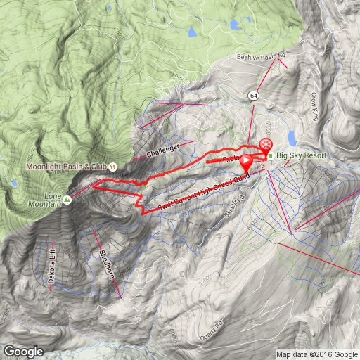 Ski route day 5 Big Sky Montana
