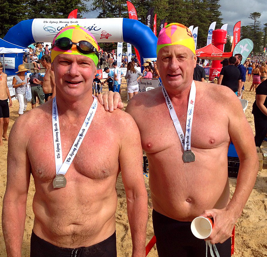 Dave and me at the finish. We went in together at Shelly Beach and stood up together at Manly 5km and 1.5 hours later.