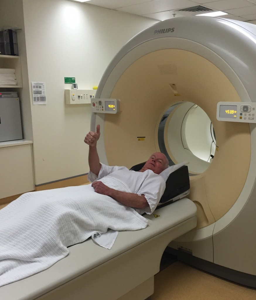 Happy days. Officially radioactive - preparing for a PET scan at St Vincent's Nuclear Medicine clinic.